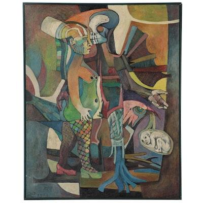 """Lenore Szesko Oil Painting """"Love Song,"""" 1972"""