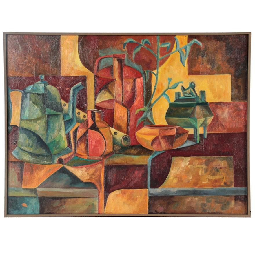 "Robert Szesko Cubist Oil Painting ""Still Life,"" Late 20th Century"