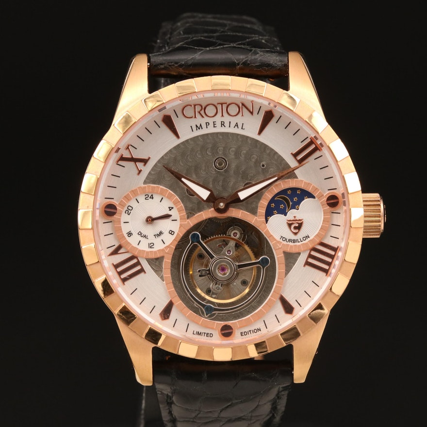 Croton Imperial Tourbillon Rose Gold Tone Stem Wind Wristwatch
