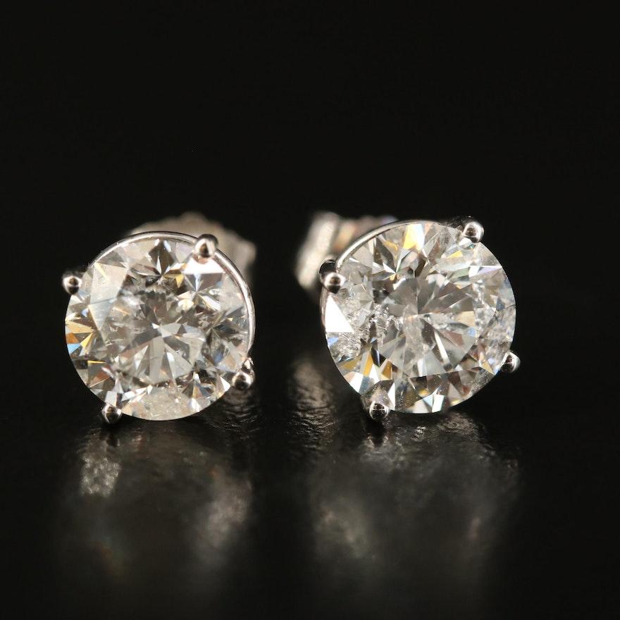 14K 3.00 CTW Solitaire Diamond Stud Earrings