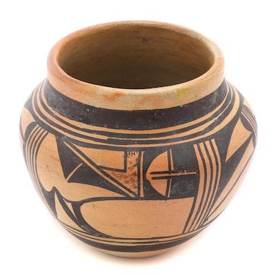 Hopi Pueblo Black-on-Yellow Earthenware Pottery Jar, 1940s