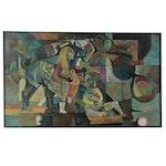 "Lenore Szesko Oil Painting ""Third Stone from the Sun,"" 1971"
