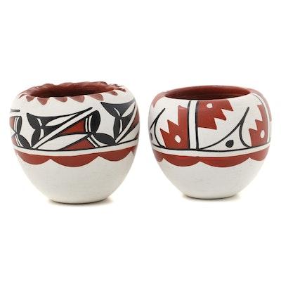 Caroline Loretto Jemez Pueblo Polychrome Pottery Jars