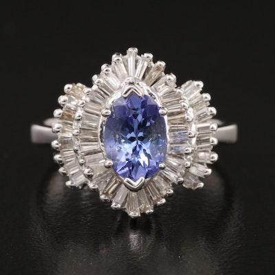 14K Tanzanite and Diamond Halo Ring