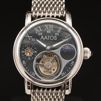 Aatos Tiago Tourbillon Stainless Steel Stem Wind Wristwatch