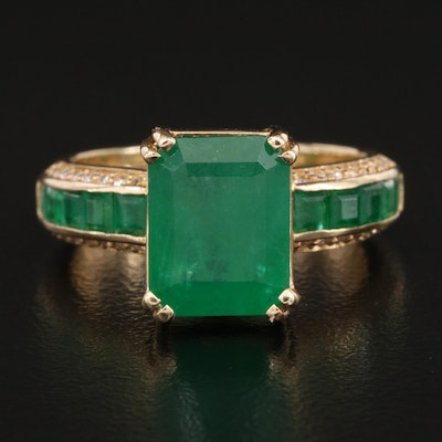 EFFY 14K Emerald and Diamond Ring with 3.70 CT Center