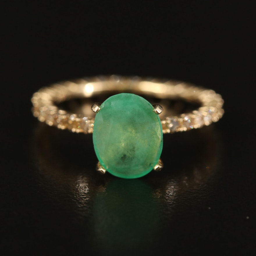 14K Emerald and Brown Diamond Ring