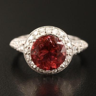 18K 2.53 CT Tourmaline and Diamond Halo Ring