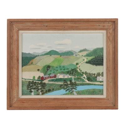 "Grandma Moses Folk Tempera Painting ""The Sycamore Farm,"" 1944"