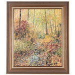 """Landscape Oil Painting """"Fall Forest,"""" 1971"""