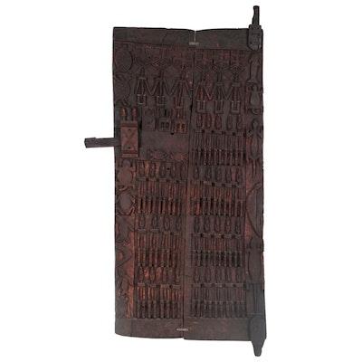 Dogon Hand-Carved Wood Door, 20th Century