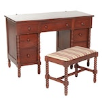 Federal Style Cherrywood Bobbin Spindle Accented Vanity with Bench, 1948