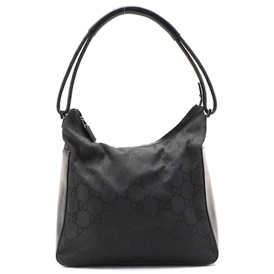 Gucci Hobo Bag in Oversized Black GG Canvas and Leather