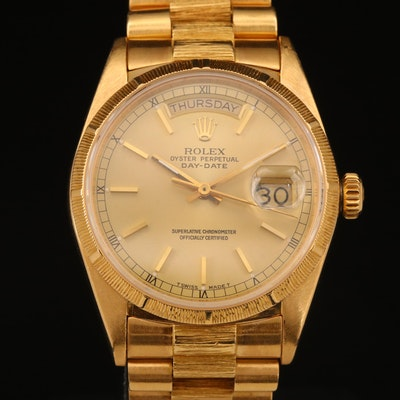 "1987 Rolex ""Day-Date President"" 18K Gold Automatic Wristwatch"