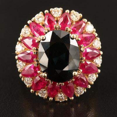 EFFY 14K 5.49 CT Sapphire, Diamond and Ruby Ring