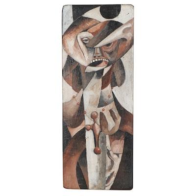 "Robert Szesko Modernist Oil Painting ""Virgin Wife,"" Late 20th Century"