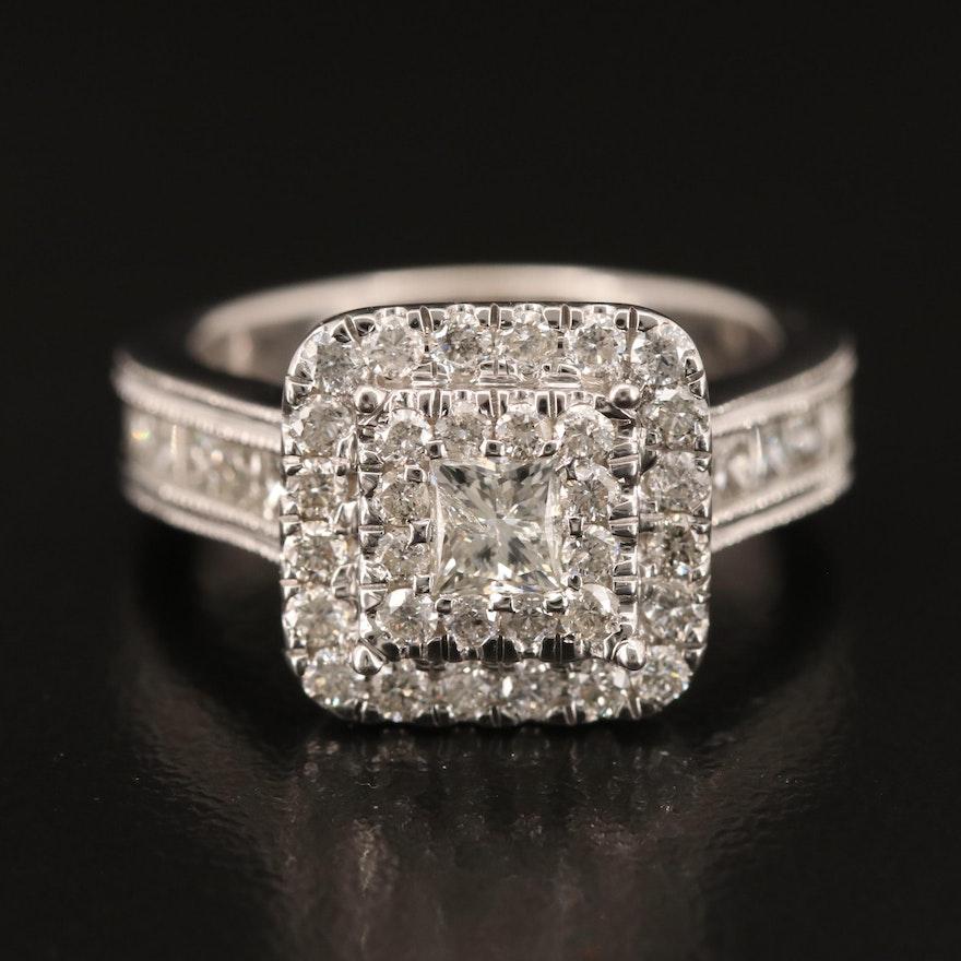 14K 1.80 CTW Diamond Double Halo Ring