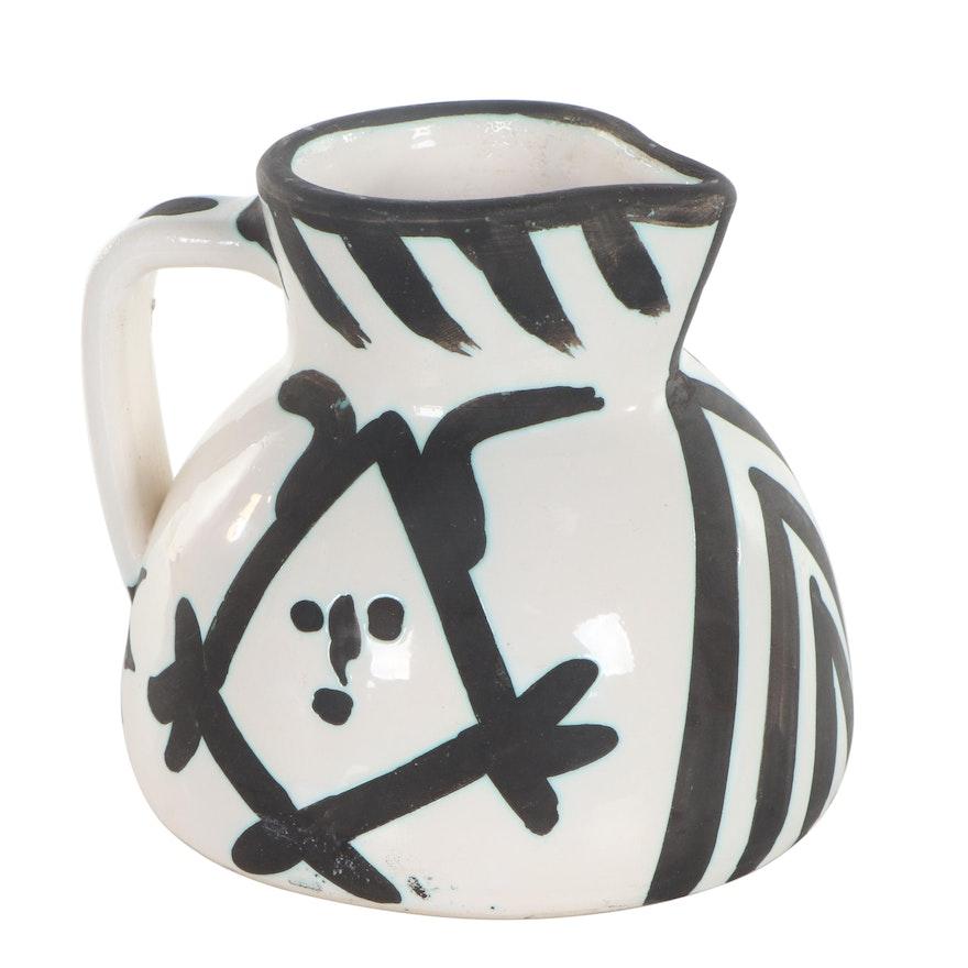 "Pablo Picasso Madoura Earthenware Pitcher ""Pichet Têtes,"" 1953"