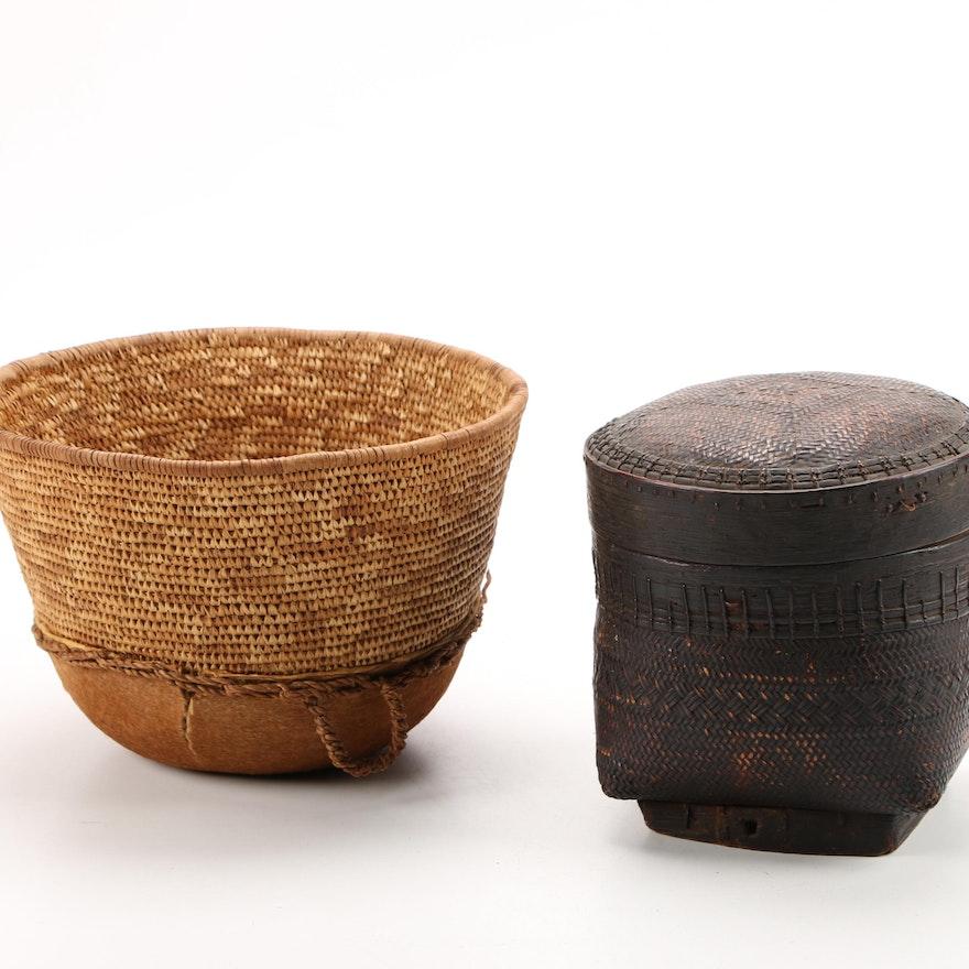 Abagusii Handcrafted Food Basket and Indonesian Lidded Basket