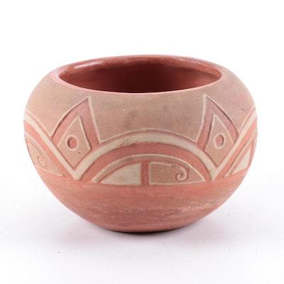 San Juan Pueblo Incised Earthenware Jar, Mid-20th Century