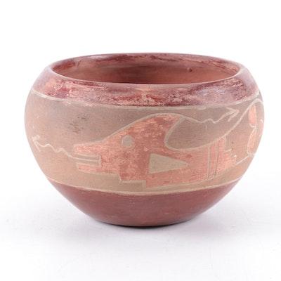 San Juan Pueblo Polychrome Earthenware Bowl with Incised Avanyu, 20th Century
