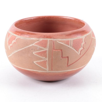 Reyecita Trujillo San Juan Polychrome Carved Earthenware Bowl, circa 1930