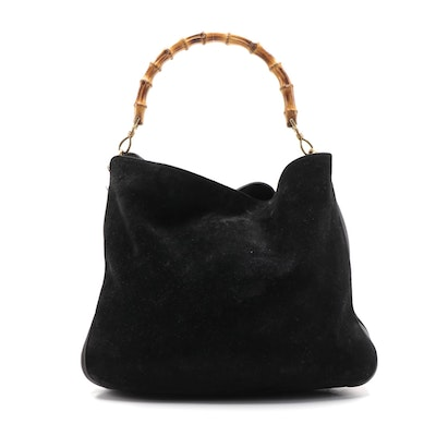 Gucci Bamboo Handle Two-Way Hobo Bag in Black Suede and Leather