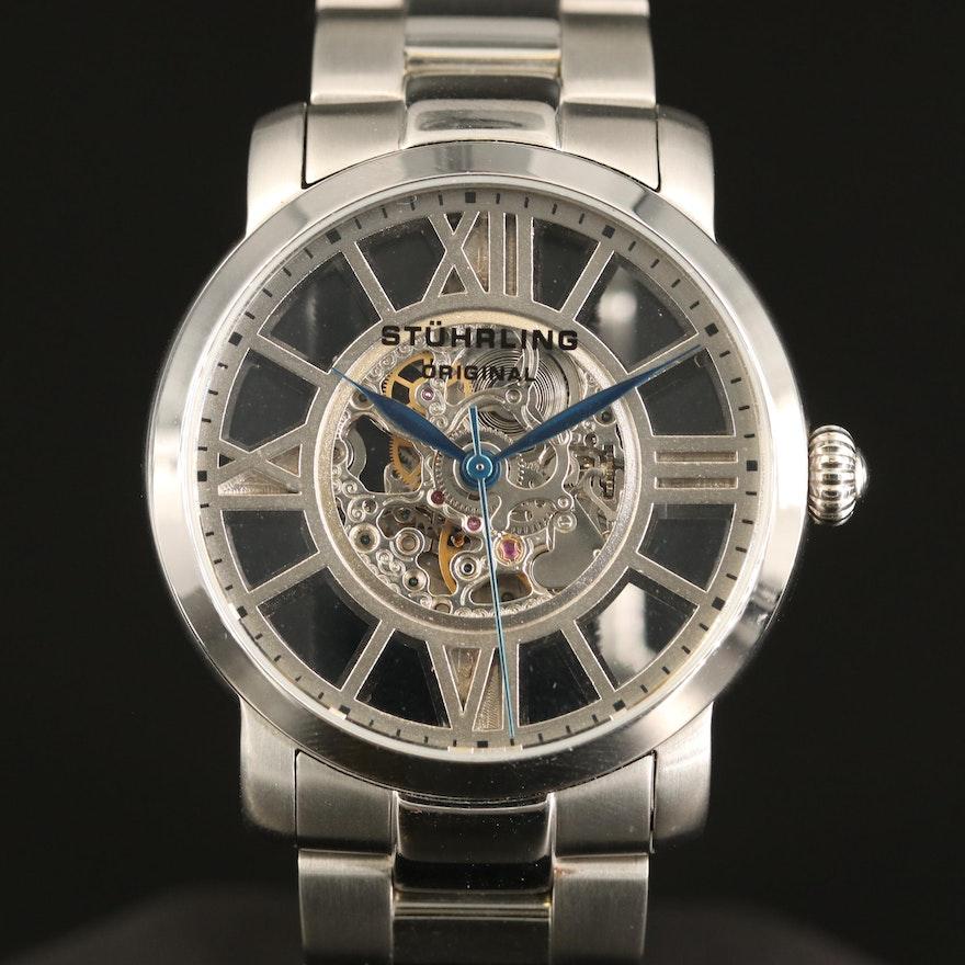Stührling Skeleton Dial Stainless Steel Automatic Wristwatch