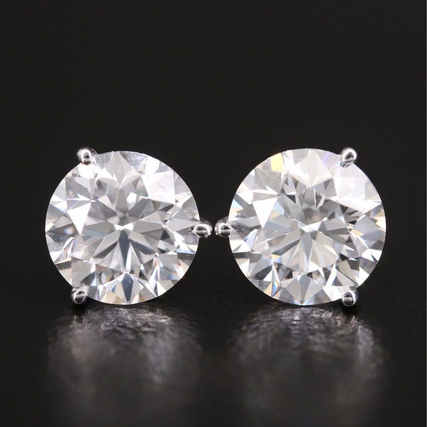 18K 3.02 Diamond Stud Earrings in Martini Settings