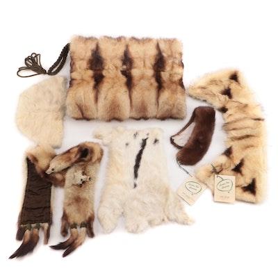 Stone Marten Fur Accessories, Mink Fur Collar, Rabbit Fur Cap and Pelt