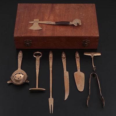 Johny's Gems Thai Brass and Nickel Bar Set with Storage Box