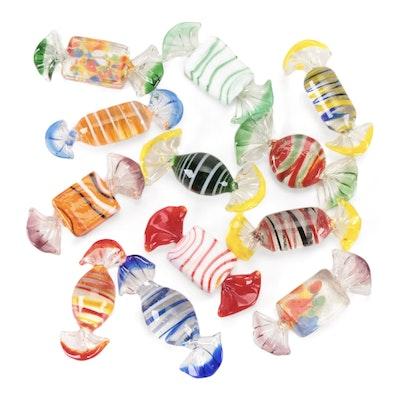 Blown Art Glass Candy Pieces