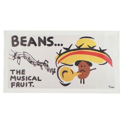 """Todd Goldman Giclée """"Beans...The Musical Fruit,"""" 21st Century"""