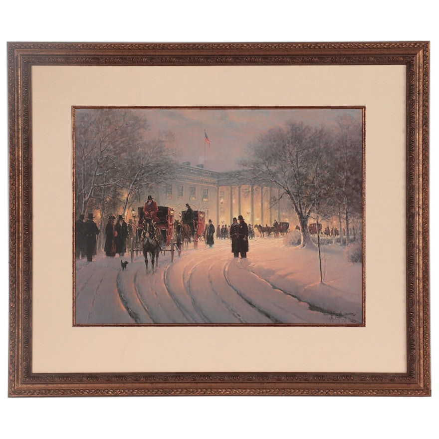 """G. Harvey Offset Lithograph """"An Evening with the President,"""" Late 20th Century"""
