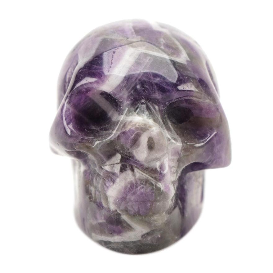 Carved Amethyst Skull Figurine
