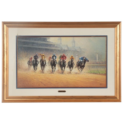"""G. Harvey Offset Lithograph """"Test of Champions,"""" Late 20th Century"""