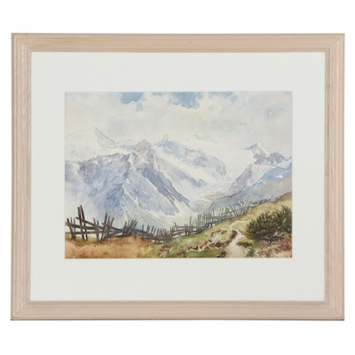 Mountain Landscape Watercolor Painting attributed to Eustace Ziegler