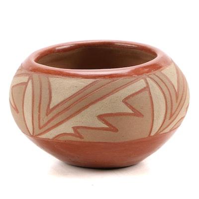 San Juan Pueblo Polychrome and Incised Earthenware Jar, 1940s