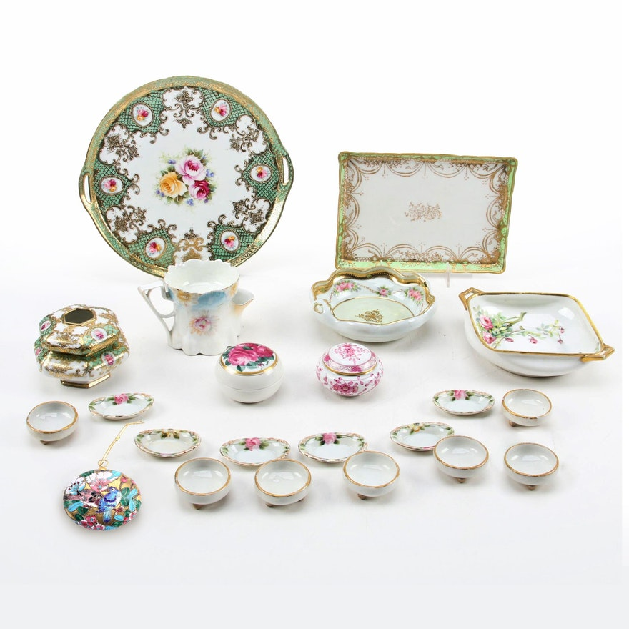 """Meissen """"Pink Oriental Flowers"""" Box and Other Porcelain and Ceramic Tableware"""
