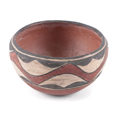 Laguna Pueblo Polychrome Earthenware Bowl, 1910-1920