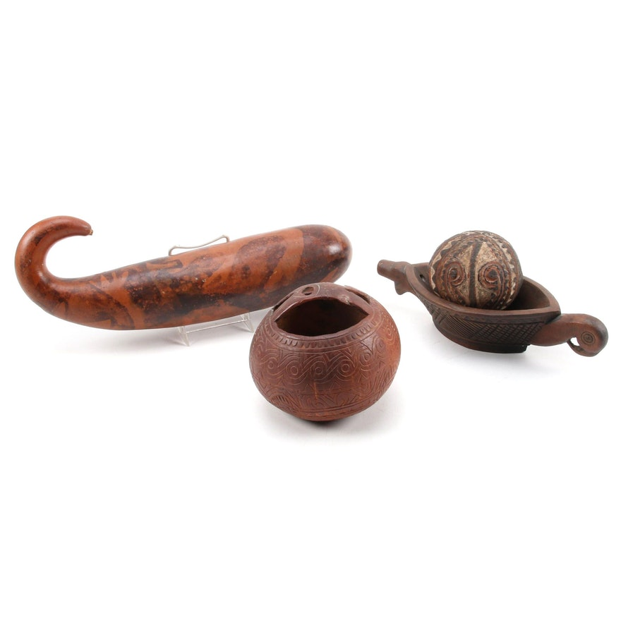 Oceanic Bowl with Bird Form, Carved Gourd and Coconut Shells