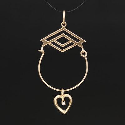 14K Charm Holder Pendant with Diamond Heart Charm
