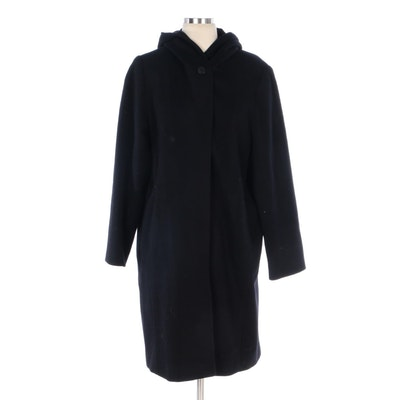Anne Klein Black Wool Hooded Coat