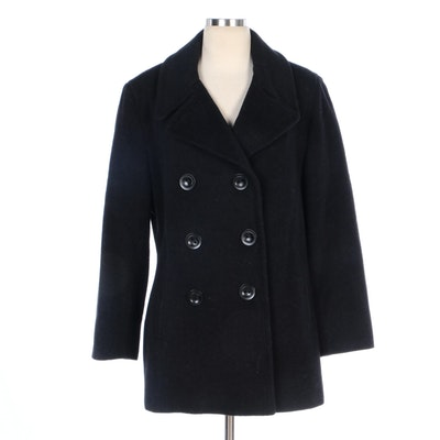Calvin Klein Double-Breasted Peacoat with Notched Lapel