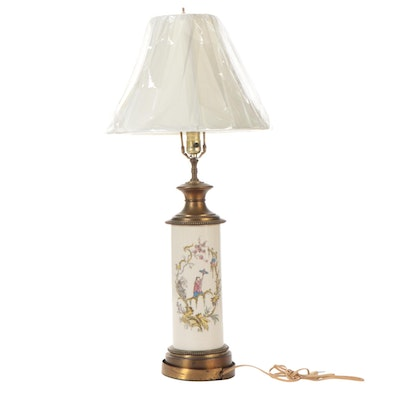 Chinoiserie Ceramic and Brass Lamp, Early to Mid 20th Century