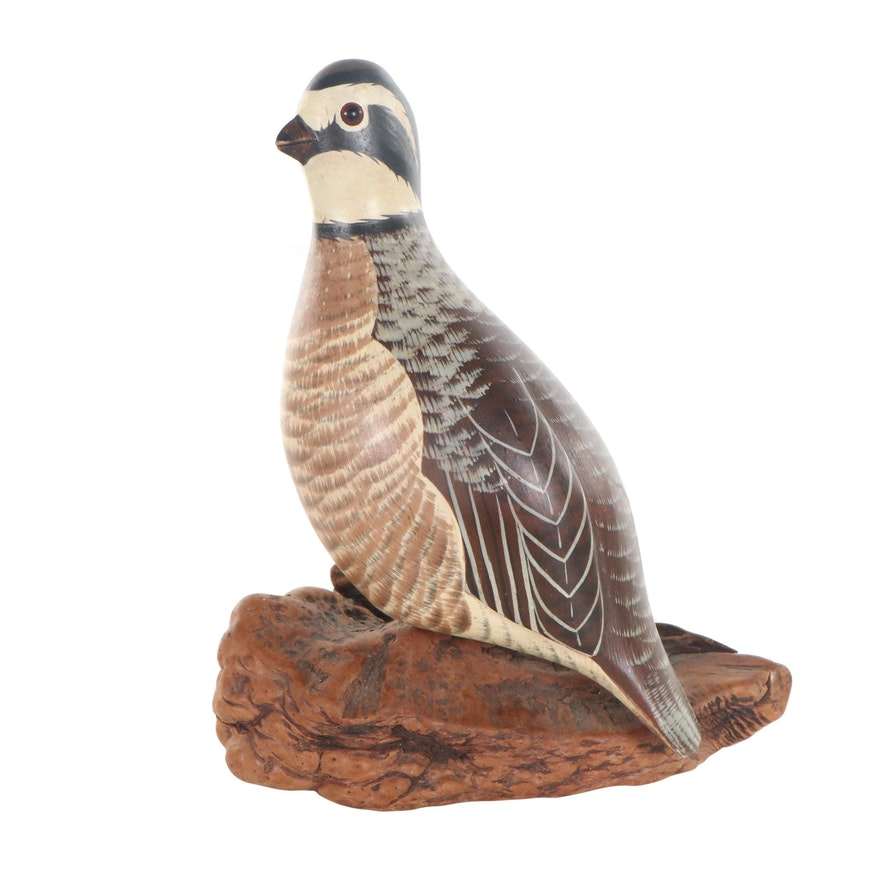 Chris Olson Painted Carved Wood Sculpture of Quail, Late 20th Century