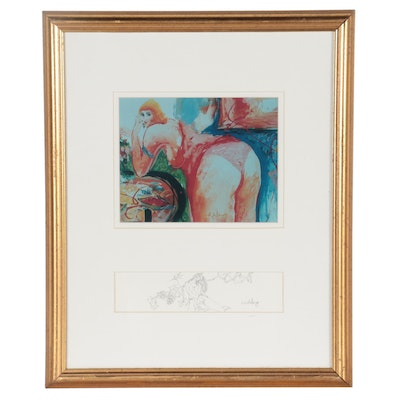 David P. H. Wong Giclée and Graphite Drawing of Woman, Late 20th Century