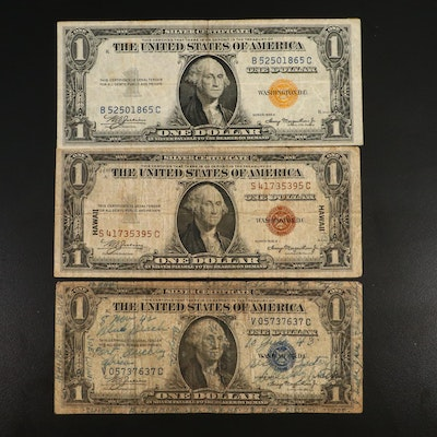 """""""Hawaii Overprint"""", """"North Africa"""", and """"Short Snorter"""" $1 Silver Certificates"""