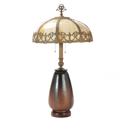 Bent Glass Caramel Slag Glass Lamp Shade with Ceramic Base, Early/Mid 20th C