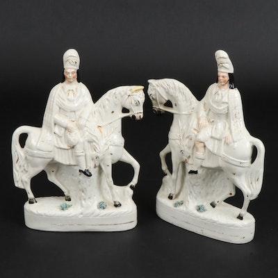 Staffordshire Ceramic Hunters on Horseback Flackbacks, Late 19th Century